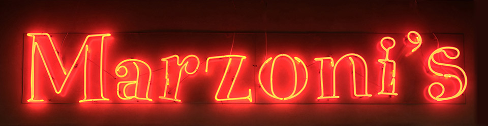 Marzoni's neon sign