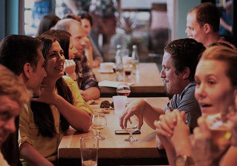 Group enjoying drinks